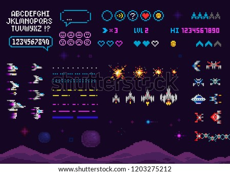 Vector Retro video 8 bit game creator set with pixel font alphabet. Ufo, space ships, rockets. Retro pixelated 8 bit arcade computer game template vector illustration