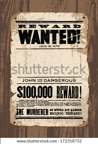vector retro wanted poster