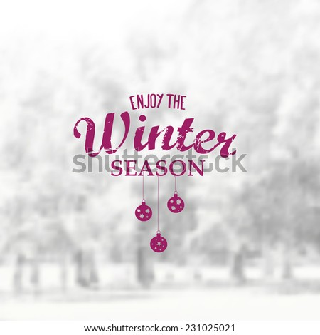 Vector Retro Winter banner typography. Winter Label with christmas decoration in blurred landscape background.