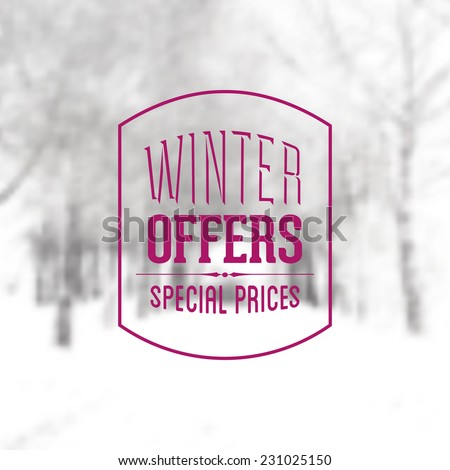 Vector Retro Winter banner typography. Winter offers Label in blurred landscape background.