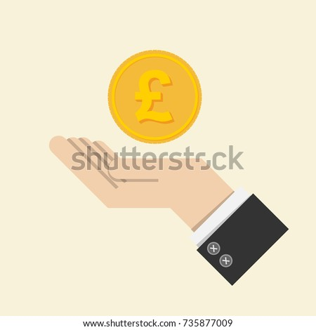vector. return of an investment concept. gold coin with sign of British pound sterling currency on hand, palm of businessman. invest growth,finance plan, personal management, investment portfolio.
