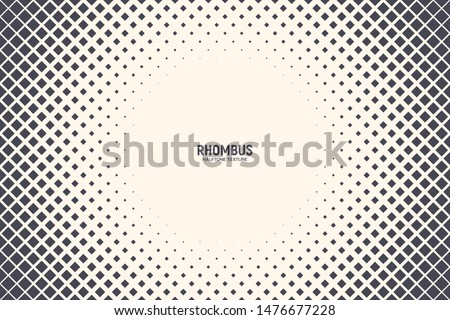 Vector Rhombus Shapes Technology Abstract Geometric Background. Radial Composition Halftone Frame Rectangular Retro Simple Pattern. Minimal Style Dynamic Tech Wallpaper