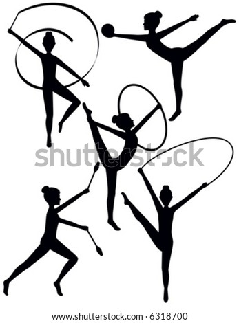Vector Rhythmic Gymnast Silhouettes. The ribbon, hoop, clubs and jump rope are separate and can be moved or changed between figures.