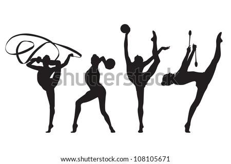 vector rhythmic gymnastics silhouette set