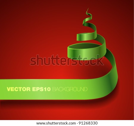 Vector ribbon banner curling in a form of Christmas tree