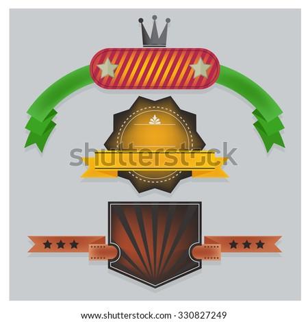 vector ribbon icons logo on