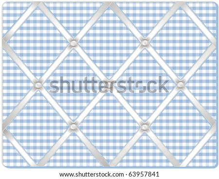 vector - Ribbon Pin Board.  Tuck your favorite photos into this old fashioned bulletin board, padded pastel gingham fabric, buttons, crisscross white satin ribbon. EPS8 in groups for easy editing.