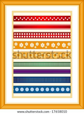 vector - Ribbon Sampler, 9  styles, oak wood frame: small polka dot, lace edge, checkered, grosgrain, large polka dot, stripes, squares, art deco, & flowers. EPS8 organized in groups for easy editing.