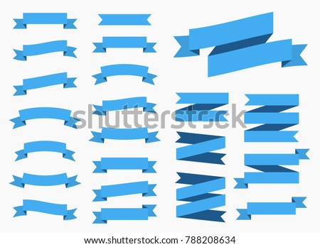 Vector ribbons banners isolated on White background. Blue tapes. Set of 22 blue ribbons banners.