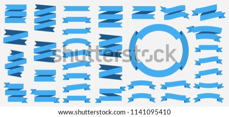 Vector ribbons banners isolated on White background. Set of 35 blue ribbon banners.
