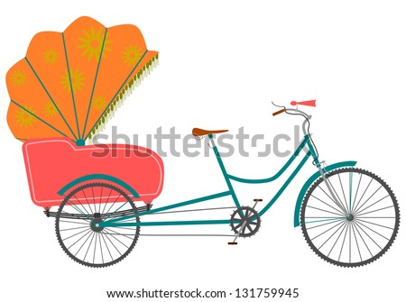 Vector. Rickshaw in a retro style on a white background.