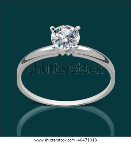 Vector ring with diamond, vector illustration