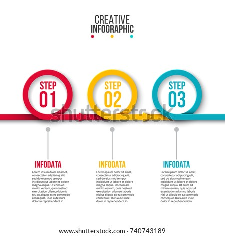 Vector rings with arrows for infographic. Template for diagram, graph, presentation and chart. Business concept with 3 options, parts, steps or processes. Abstract background.