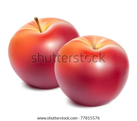 Vector. Ripe red apples.