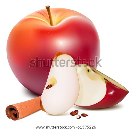 Vector. Ripe red apples with green leaves and cinnamon.
