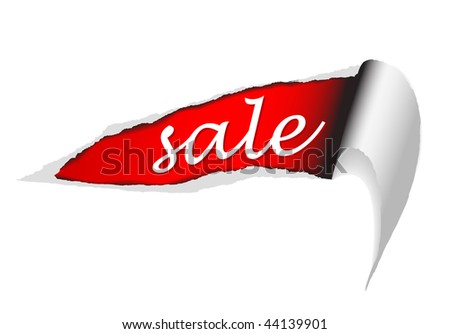 Vector ripped paper - background for items in sale (red)