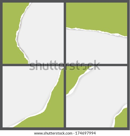 Vector ripped paper backgrounds. Pack of blank ripped papers for your projects. Sizable and editable friendly vector graphic.