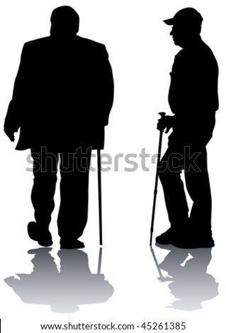 Vector risuno two elderly men. Silhouettes on white background - stock vector