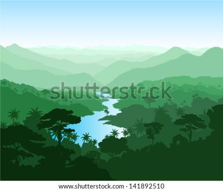 vector river in jungle