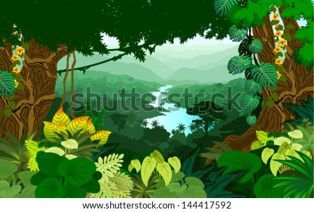 vector river in jungle