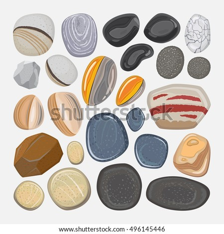 vector river stones isolated on