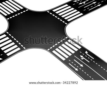 Vector road - crossroad