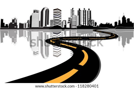 Vector - road leads to city