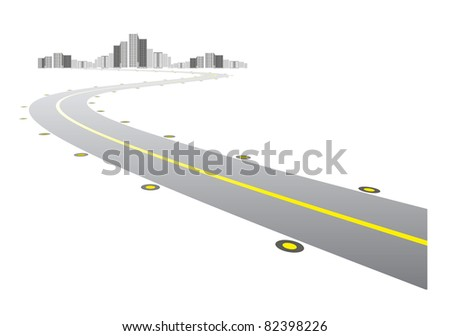 Vector - road leads to city on white background