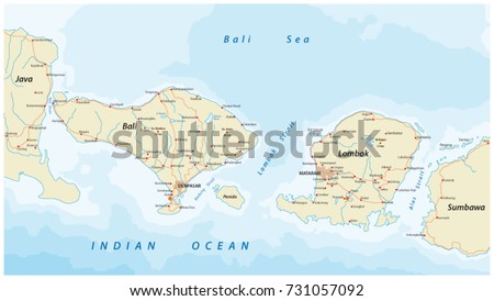 Vector bali map download free vector art stock graphics images vector road map of indonesian lesser sunda islands bali and lombok gumiabroncs Gallery