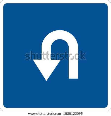 Vector road sign for U turn Stok fotoğraf ©