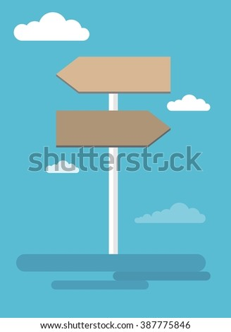 Vector road signpost. Signs for travelers. Game Pointer icon. Flat cartoon illustration. Objects isolated on background. #387775846