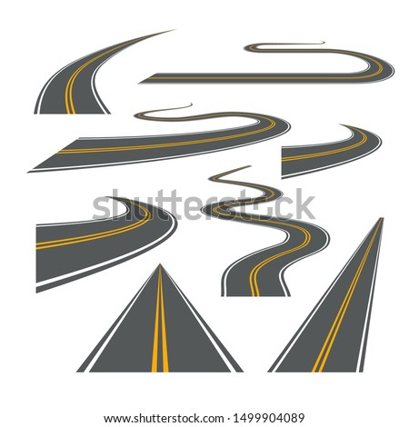 Vector road way winding journey highway illustration. Asphalt street path isolated road.