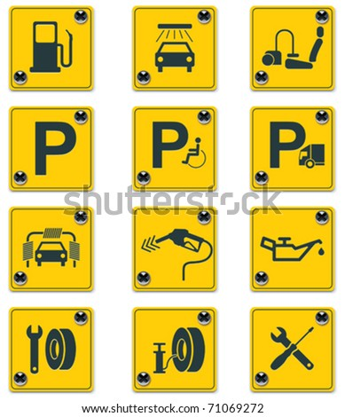 vector roadside services signs