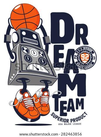 vector robot basketball player