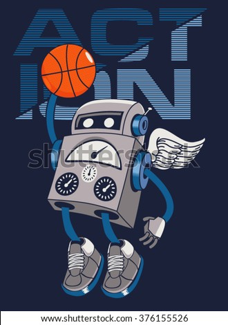 vector robot basketball player