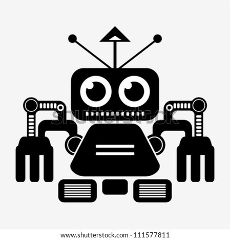 Vector - robot (black and white)