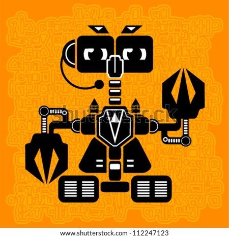 Vector - robot (futuristic art on the orange background conundrums)