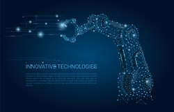 Vector Robot hand. Polygonal wireframe mesh looks like constellation on dark blue with dots and stars. Automation, conveyor, manufacture or other concept illustration or background