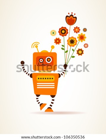 vector robot with flowers, for greeting card - stock vector