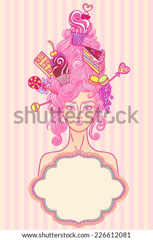 vector roccoco styled girl with