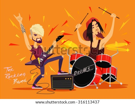 vector rock band flat