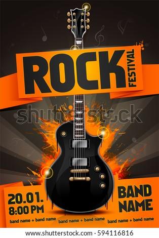 vector rock festival flyer design template with guitar