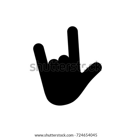 Vector rock sign gesture. Rock & roll / heavy metal / sign of the horns. Vector ILY sign. I Love You. Extended thumb, index finger, and little finger while the middle and ring finger touches the palm.