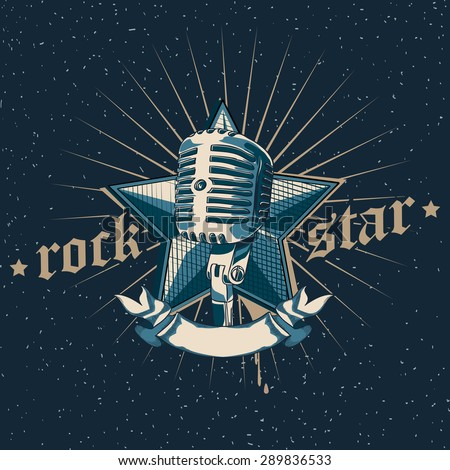 vector rock star emblem