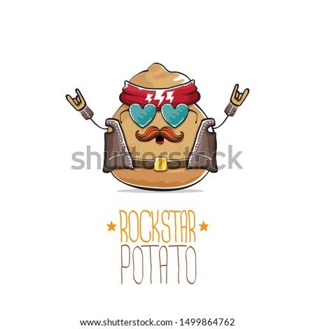 vector rock star potato funny
