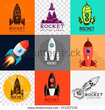 vector rocket collection set of various rocket symbols vector illustration 191207120. Black Bedroom Furniture Sets. Home Design Ideas