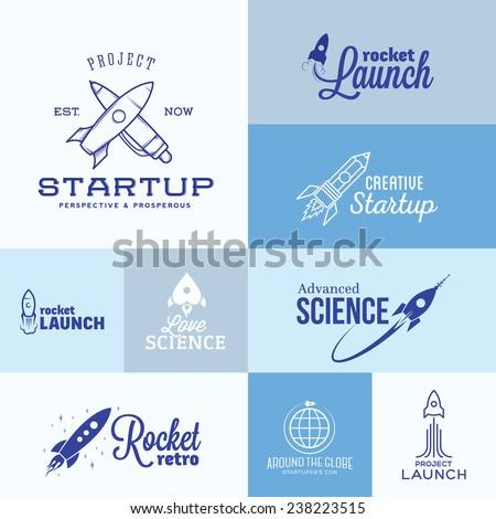 vector rocket logo set icons