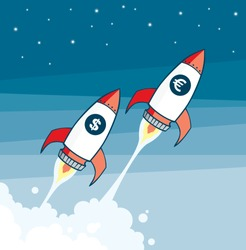 vector rockets with money signs