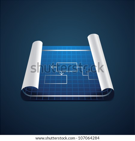 Vector roll of blue paper with technical drawing