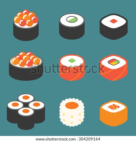 vector roll sushi icon set
